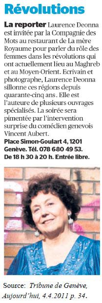 Laurence Deonna - article dans La Tribune de Genève